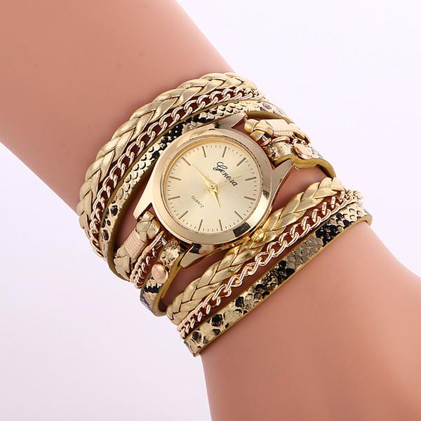 Wholesale Fashion Geneva Vintage women watches Weave Wrap Rivet ladies Leather Bracelet Leopard grain chain dress quartz watches