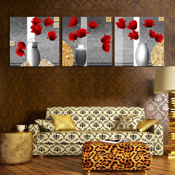 Unframed 3 Pieces art picture free shipping Canvas Prints potted flower tree Forest path Plum peony bird chinese characters Lotus rose