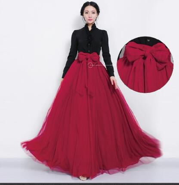best selling Wholesale-NEW Women Mesh Chiffon Pleated Princess Long Maxi Elastic Waist Skirt Gown