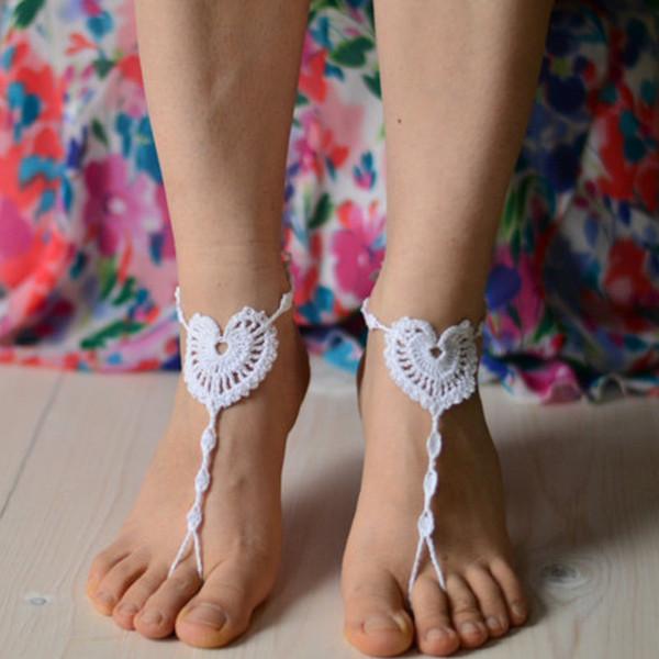 1 Pair OR 2 PCS wedding barefoot winx sandals crochet heart sandal foot feet accessory beach wedding bridesmaid foot thong anklet yoga shoes