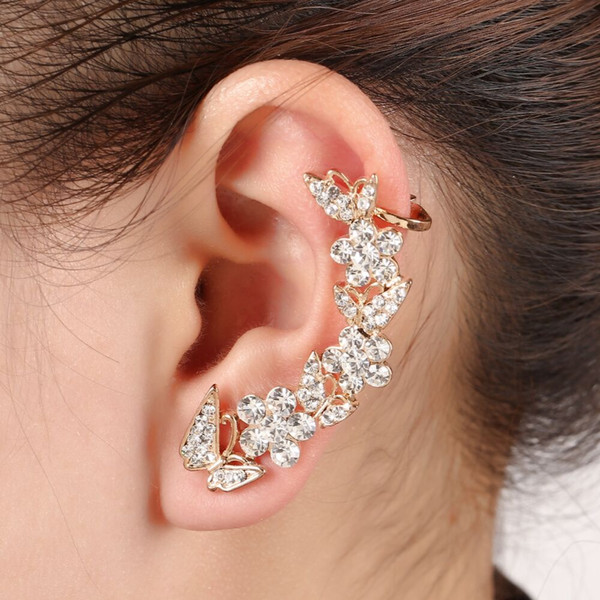 SE0155 New Silver Plated Flower Butterfly Design Ear Cuff Crystal Rhinestone Wrap Clip Earring Fashion Jewelry Gift For Women