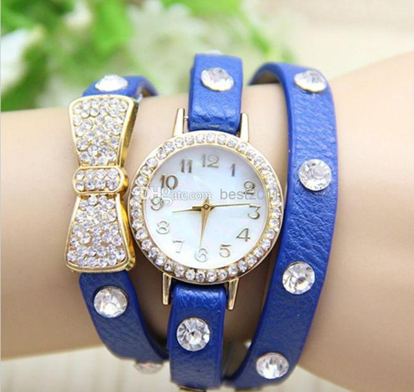 New Arrival wrap Around Bracelet Watch Bowknot Crystal Imitation leather chain women's Quartz wrist watches Christmas watches 10 colors