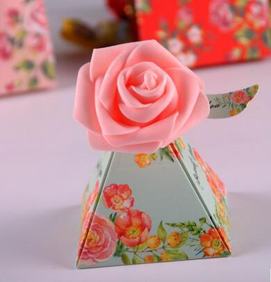 100 Pcs European style purple pink flower color Pearl paper triangle pyramid Wedding box Candy Box gift boxs wedding favour boxes TH189
