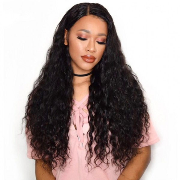 Pre Plucked Full Lace Human Hair Wigs For Black Women 130% Density Mongolian Water Wave Lace Wig With Baby Hair G-EASY
