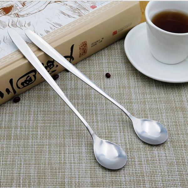 8 X Acier Inoxydable Poignée Longue Latte Cuillères Pour Verre Ice Cream Sundae Café