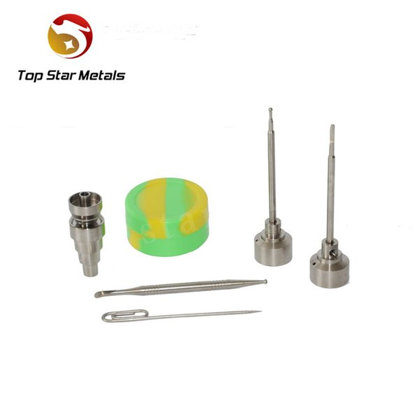 6 in 1 Titanium nail with Titanium carb cap with 1 random Silicone Jar Container with 2 Real Ti dabbers