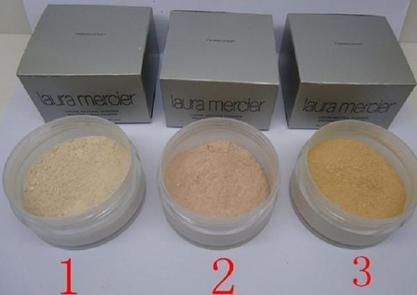 24pcs 3 clolors laura mercier polvo de fijación suelta translúcido Min pore Brighten Corrector Nutritivo bloqueador solar firme de larga duración 29g