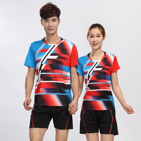 Al por mayor-Nueva de secado rápido de poliéster de los hombres y las mujeres de bádminton Jersey Shirt Tennis Top Sports Wear más el tamaño 4XL