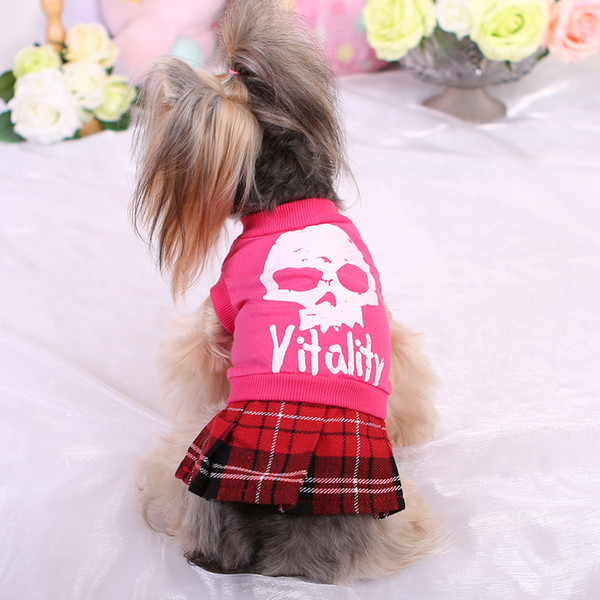 Spring, summer, the new foreign trade tail single person cranial head plaid skirt Pet clothing teddy VIP The dog dog clothing wholesale
