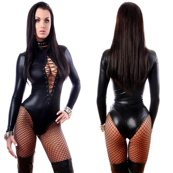 New Hot Sexy Lady Preto Catsuits De Látex De Couro Baixo Corte Com Zíper Virilha Aberta Elástico Wetlook PU Collant Bodysuit Bar Clubwear
