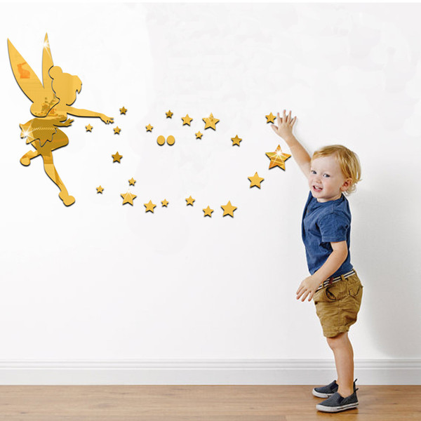 Free Shipping Family Walls Decals Photo Frame Fairy Blessing Wall Stickers for Kids Room / Living Room Acrylic DIY Home Decor