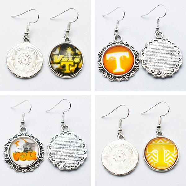 10Pairs Fascino Squadra sportiva NCAA Tennessee Volunteers 18mm Orecchini a bottone in vetro / Orecchini pendenti per regalo di gioielli da donna