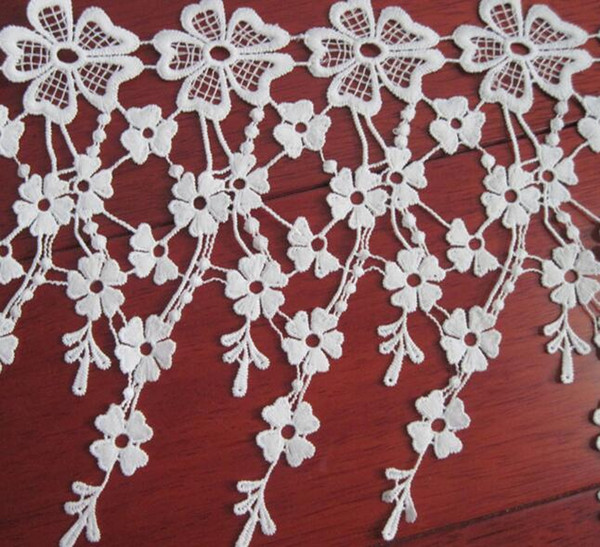 15Yard Flower Embroidered Tassel Cotton Lace Fabric Trim Ribbon For Apparel Sewing DIY Collar Doll Cap Hair clip
