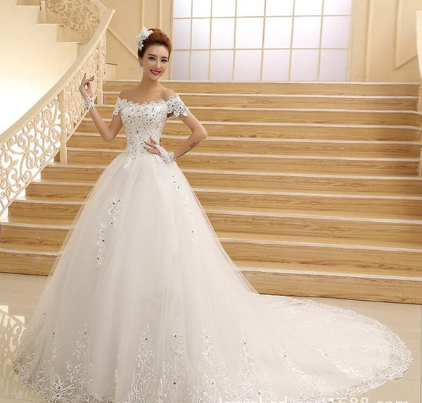 2016 New Cheap Wedding Dresses Scallop Strapless Short Sleeves Off ...
