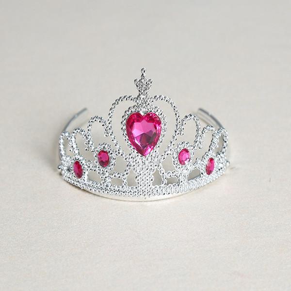 5 Piece Chidlren Girl Plastic Imitation Diamond Frozen Crown 7 Colors Imitated Crystal Hair Clip Headband Princess