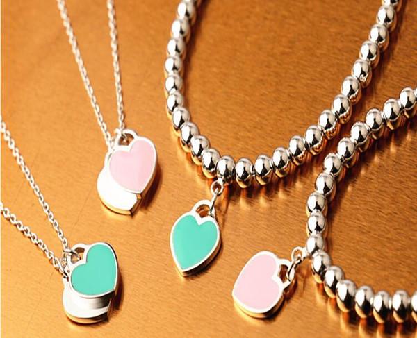 Amor coração de aço de titânio colares pulseiras de cartas de amor rosa colar de corrente de colarinho azul dois estilos duas cores