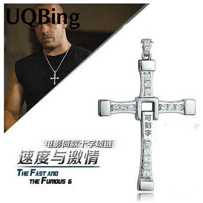 Wholesale- The Fast And The Furious Dominic Toretto Vin Diese Movie Jewelry Austrian Crystal Silver Sterling 925 Cross Necklace&Pendant Men