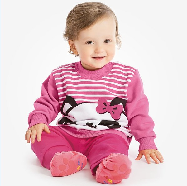 girl clothing sets children clothes cotton long sleeved cute panda sweater + pant pink suit girls hot sell baby outfits