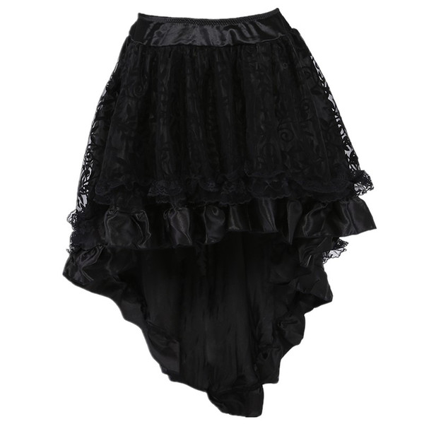 Women Retro Ruffle Lolita Floral Lace Overlay and Voluminous Layered Hi-lo Mini Skirt Plus Size Party Corset Costume Skirt