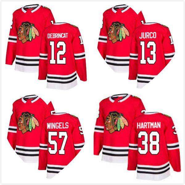 Erkek 2018 Yeni Chicago Blackhawks 12 Alex DeBrincat 57 Tommy Wingels 38 Ryan Hartman 13 Tomas Jurco Hokeyi Formalar Kırmızı Ev Dikişli Tüm