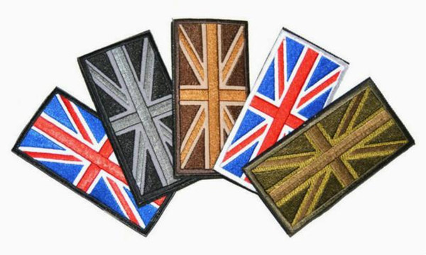 4*2 inch 3D Embroidered Pacthes with magic tape Armband British/England flag Patch Union Jack Sew on patches GPF-033 garment accessorieses