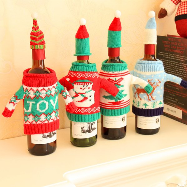 4pcs/set! Christmas Wine Bottle Cover Bag Navidad Banquet Christmas Dinner Party Xmas Plush Cute snowmen Table Decor new years supplies