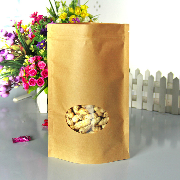 50pcs/lot 20cm*30cm+5cm*140micron High Quality Large Stand Up With Zipper Kraft Paper Bag With Circle Window