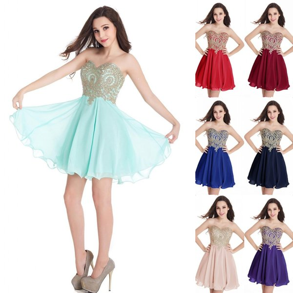 top popular Cheap In Stock Homecoming Dresses 2019 Designer Occasion Dress Sweetheart Short Cocktail Party Prom Gowns 100% Real Image CPS406 2020