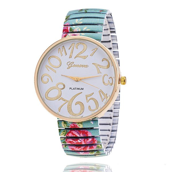 Fashion ANTIQUE ROSES STRETCHABLE WATCH Flower Geneva Watch Ladies Women Quartz Watches High Quality New 4 colors