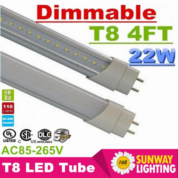 4FT T8 Светодиодные лампы с регулируемой яркостью света Супер яркий 22W 90LM / Вт 1,2 м G13 T8 Светодиодная люминесцентная лампа AC 110-240V UL в списке