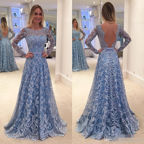 Long Sleeve Backless Prom Dresses 2017 Ice Blue A Line Vintage Lace 15 Girls Prom Party Gowns Red Carpet Gowns Formal Evening Wear
