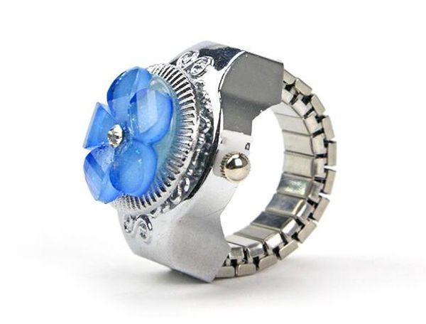 XRNB256-anel relógio Coreano Mulheres Anel Assista Brilhante Cor do Relógio Retro Flores Criativas Clamshell Misture Color Finger Watch 50 pçs / lote Navio Livre