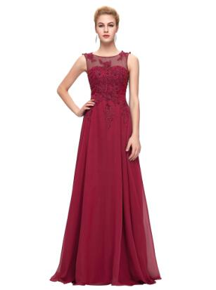 2019 Gorgeous Crew Neck Black Pink Long Prom Dresses Burgundy Formal Dresses Abendkleider Plus Size Evening Gown Robe de soiree
