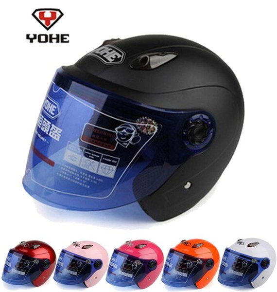 YOHE Half Face motorcycle helmet YH836R ABS motorbike helmets with Transparent lens have 10 kinds of color size M L XL