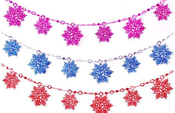 2pcs 2 Meters PVC Snowflake Pendant Drop Ornaments Strap Garland Christmas Tree Holiday Venue Decoration