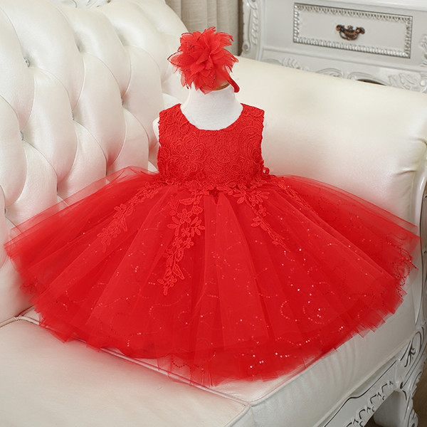 Tulle Lace Flower Girl Abiti Red Pink White Junior Flower Girls Abiti per ragazze Matrimoni Comunion Sequin Princess Pageant Gowns