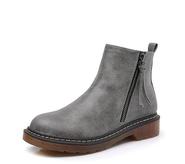 Winter Neue Ankunft Grau Frauen High Top Lederstiefel Zip Kurze Plüsch Warme Schneestiefel Dame Schuhe Kurze Ankle Boot Plus Größe 10 11