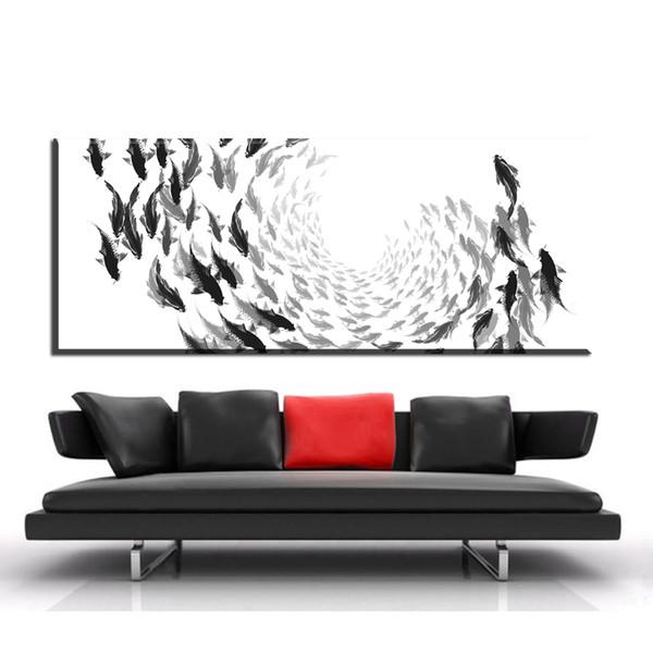 Acheter Zz1994 Art Nordique Zen Poissons Toile Affiche Abstrait Minimaliste Art Peinture énorme Impression Mur Photo Pour La Maison Salon Décoration
