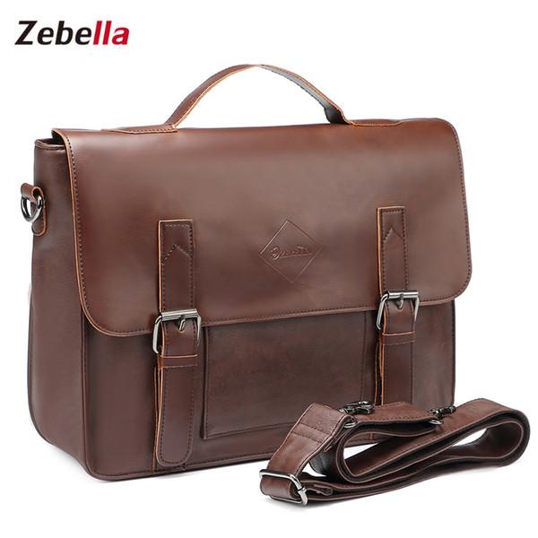 Venda por atacado - Zebella Vintage dos homens de negócios Briefcases de couro Pu Mens marrom Mensageiro Laptop Bags Classic Carteira Document Office Bag Novo