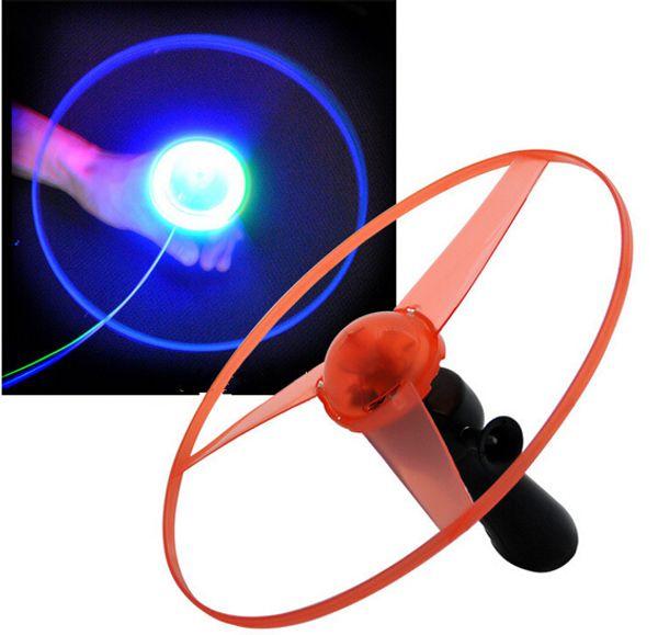 20pcs Flash PULL Luminous Flying Saucer 25cm Led Light UFO Children Flying Toys 80g WJ763