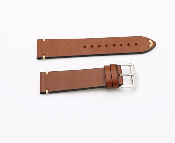 CARLYWET 20 22mm Men Woman Genuine Cowhide Leather Brown VINTAGE Wrist Watch Band Strap Belt Silver Polish Pin Buckle Best Gift