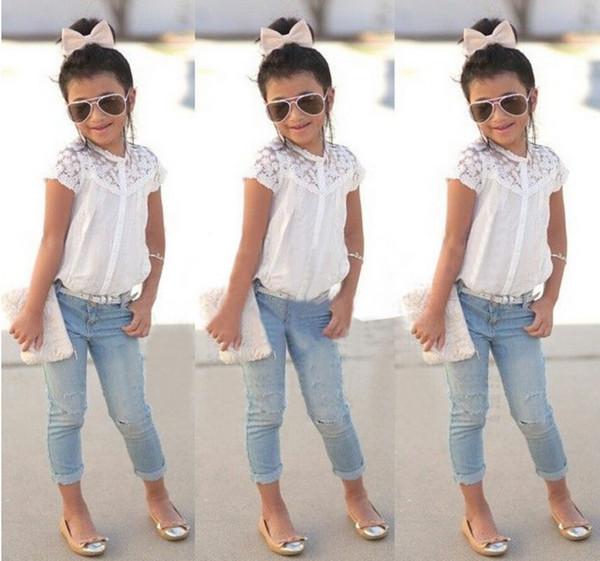 the best attitude 69141 1d578 Acquista Bambini Vestiti Di Estate 2016 Di Modo Del Vestito Delle Neonate T  Shirt + Denim Dei Pantaloni I Bambini Vestiti Di Estate Outfits Bambini ...
