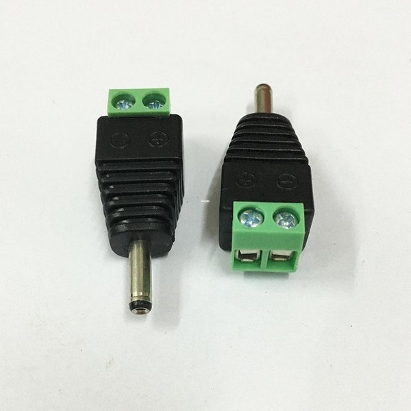 50Pcs/bag 1.35mm x 3.5mm Male DC Jack 3.5 *1.35mm to 2Pin Screw Block Terminal Power Plug Connector for Security CCTV Camera System
