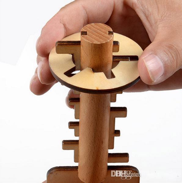 Деревянная Игрушка Разблокировать Головоломка Ключ Классическая Забавная Конг Мин Замок Игрушки Интеллектуальные Развивающие Для Детей Взрослых b978
