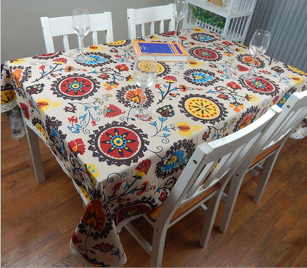 best selling European Cotton & Linen Mediterranean Style Square Tablecloths Sunflower covers Print Table Cloth For wedding table cloth