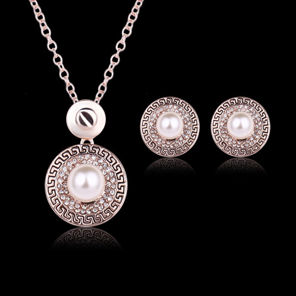 Earrings Necklace Jewelry Set Vintage Royal Women Luxury Pearl & Rhinestone 18K Gold Plated Circle Party Jewelry 2-Piece Set Wholesale JS276