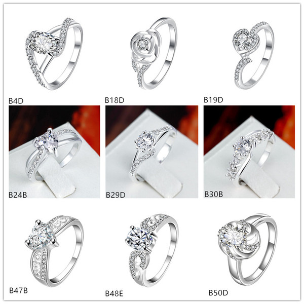 top popular Online for sale mixed style fashion white gemstone 925 silver plate ring EMGR20,Rose heart plated sterling silver ring 10 pieces a lot 2019