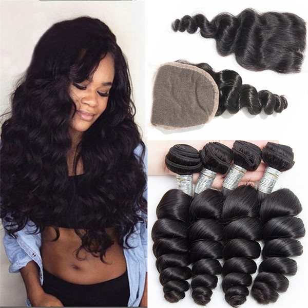 8A Brazilian Virgin Hair Loose Wave 4 Bundles With Closure 4Pcs Loose Wavy Human Hair Weaves With Closure 5Pcs Lot Brazilian Virgin Hair
