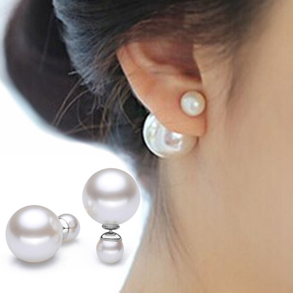 Bester Verkauf Double Side Round Ball Ohrring 10 mm + 8 mm Design Fashion Ohrring Stud 925 Sterling Silber Perle Ohrstecker