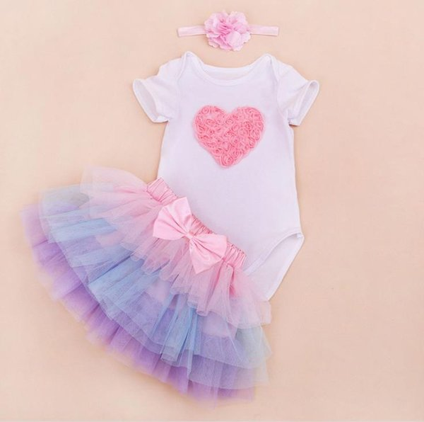 Cute Baby Set Girl Infant Toddler 3piece Outfits Lace Crown Number 1 birthday Rompers Onesies Pajamas + Tulle Cake Tutu Skirt + Headband